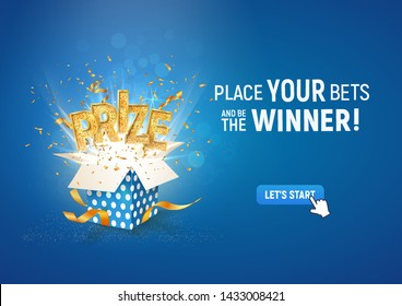 Open textured blue box with confetti explosion inside and PRIZE gold word on blue background vector illustration
