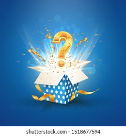 Open textured blue box with question sign and confetti explosion inside and on blue background. Mystery giftbox isolated vector illustration