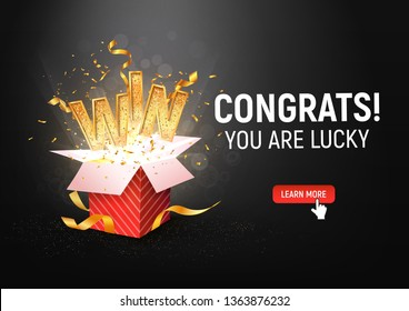 Open textured red box with confetti explosion inside and win gold word on dark background landscape orientation illustration