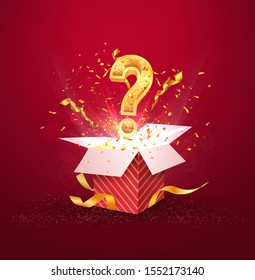 Open textured red box with question sign and confetti explosion inside and on blue background. Mystery gift box with secret isolated vector illustration