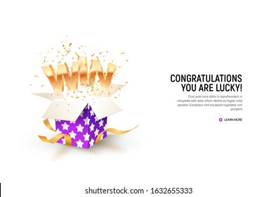 Open textured violet box with confetti explosion inside and win gold word on white background. Gambling vector banner. Click to get your prizes