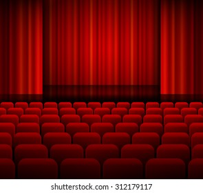 Open theater red curtains with light and seats. EPS 10 vector