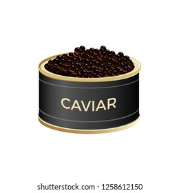 Open tin can with black caviar. Vector illustration isolated on white background