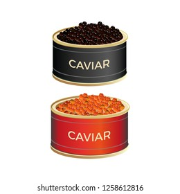 Open tin cans with black and red caviar. Vector illustration isolated on white background