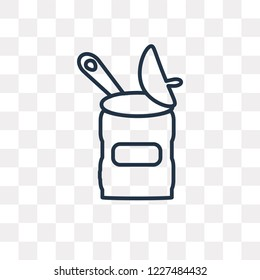 Open Tin With Spoon vector outline icon isolated on transparent background, high quality linear Open Tin With Spoon transparency concept can be used web and mobile