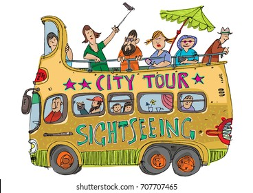 Open top double decker bus full of tourists. Cartoon.