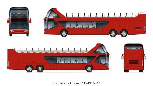 Open tour bus vector mockup on white background for vehicle branding, corporate identity. View from side, front, back. All elements in the groups on separate layers for easy editing and recolor.