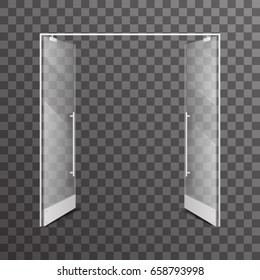 透明なショップの両開きのリアルなガラス建築デザインエレメント内部ベクターイラスト