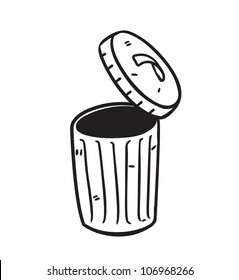 open trash bin in doodle style