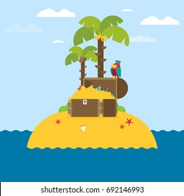 open treasure chest and pirates stuff on a desert island flat design
