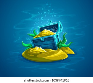 Open trunk. Hidden pirate chest with gold treasures in ocean underworld among sand and seaweeds. Piratic hoard in water. Vector illustration.