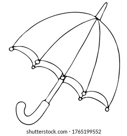 open umbrella from the autumn rain, freehand drawing, vector element in doodle style, coloring book, black outline