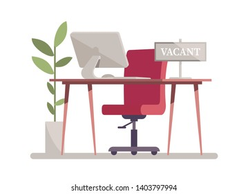 Open vacancy flat vector illustration. Vacant job position. Workplace, workspace with no people. Cartoon desk, chair, PC. Vacant post. Staff search. Job opportunity, employment possibility concept