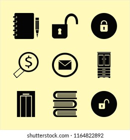open vector icons set. with cupboard, books, open lock and envelope in set