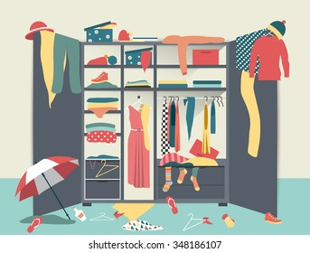 Open wardrobe. Closet with untidy clothes, shirts, sweaters, boxes and shoes. Home mess interior. Flat design vector illustration.