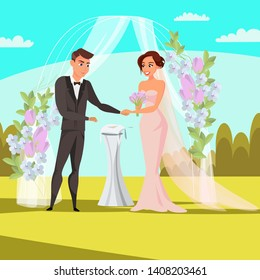 Open wedding ceremony flat vector illustration. Bride and groom cartoon characters. Outdoor decorative arch. Flower bouquet, draping, rings, vows. Bridal entrance, gate. Marriage celebration in par
