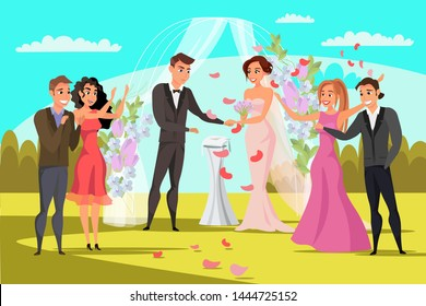 Open wedding ceremony flat vector illustration. Bride,groom, best man, bridesmaids cartoon characters. Outdoor marriage celebration in park. Floral decorative arch. Flower bouquet, rings, vows, petals