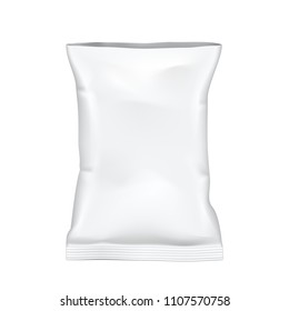 Open White Blank Foil Food Snack Sachet Bag. Packaging For Coffee, Sugar, Spices Or Chips. EPS10 Vector