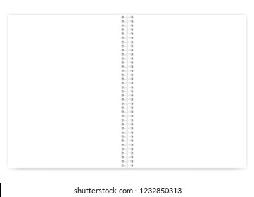 Open white blank wire bound notebook with light metal spiral, vector mock up. Empty letter size notepad spread, template