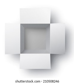Open white box. Top view. Vector illustration