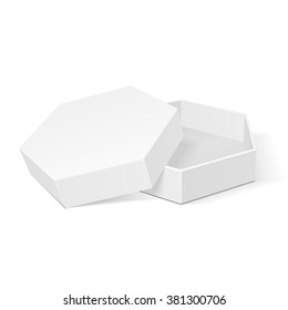 Open White Cardboard Hexagon Box Packaging For Food, Gift Or Other Products. Illustration Isolated On White Background. Mock Up Template Ready For Your Design. Product Packing Vector EPS10