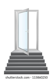 Open white doors with glass panels with stairs