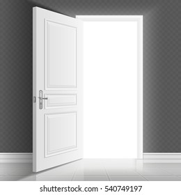 Open white entrance door. Business success vector concept background. Business chance and hope in open door illustration.
