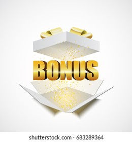 Open white gift box with the word bonus, vector illustration