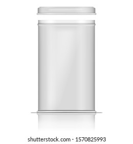 Open white tin box, realistic vector mockup. Square metal canister for tea, coffee, sugar and other food product storage, template.
