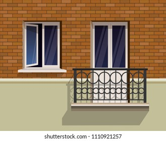 Open window and a balcony on a brick wall realistic flat vector illustration. A slightly open window and metal forged rails.
