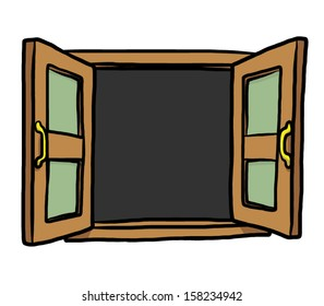 open window  / cartoon vector and illustration, isolated on white background.