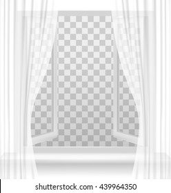 Open window with curtains on a transparent background. Vector.