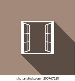 Open window with flat long shadow. Vector illustration.