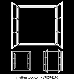 Open window frame icons. Add your own image or text. Vector illustration of an open window.