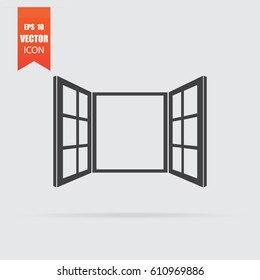 Open window icon in flat style isolated on grey background. For your design, logo. Vector illustration.