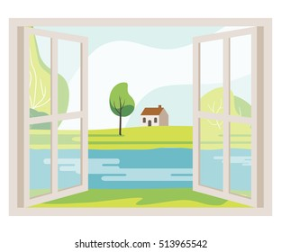 Open window with a landscape view. The landscape from the window of the river, meadow, house. Vector illustration flat design.