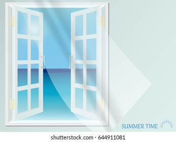 Open window with light curtain. View of sea. Summer.
