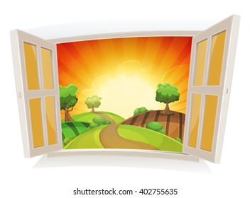 Open Window On A Summer Rural Landscape/ Illustration of an open window on a summer landscape, with sunrise and rural road snaking in pastures and meadows, and harvesting fields