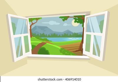 Open window. Vector flat cartoon illustration