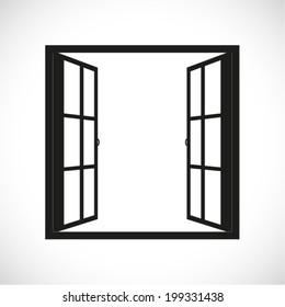 Open window. Vector illustration
