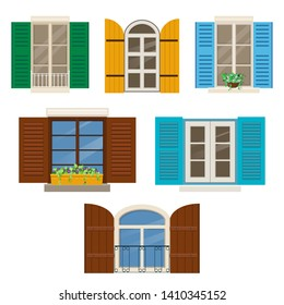 Open windows with shutters. Different windows with colorful shutters and window plants. Vector illustration