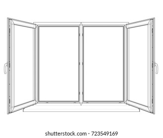 Open windows sketch. Vector rendering of 3d. Wire-frame style. The layers of visible and invisible lines are separated
