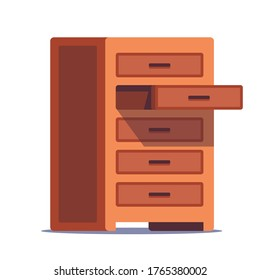 open wooden chest of drawers for storing linen on a white background. flat vector illustration