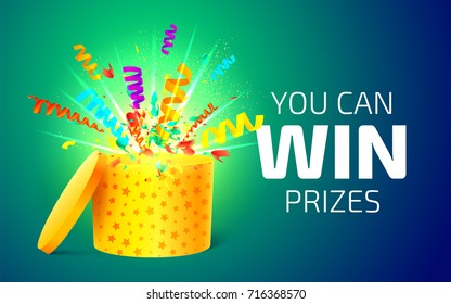 Open yellow box with colorful particles. You can win prizes. Lottery drawing advertising banner template. Gift box and confetti explosion. Vector illustration