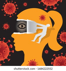 Open your eyes, Underestimating risk during a pandemic concept. Illustration of Female stylized head in profile and male silhouette ripping paper and uncovering eye. Vector available.