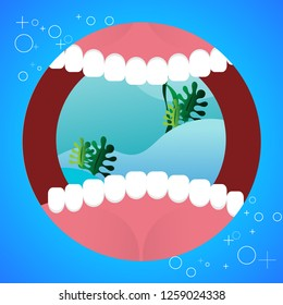 Open your mouth for show healthy and fresh teeth, hygiene, toothpaste and brush. Blue background for dental clinic, web, medical apps. Vector illustration.