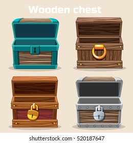 Opened antique wooden chest in vector