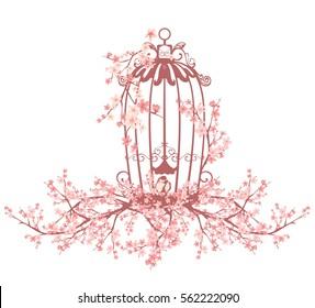 opened bird cage among blooming sakura tree branches - vector design element.