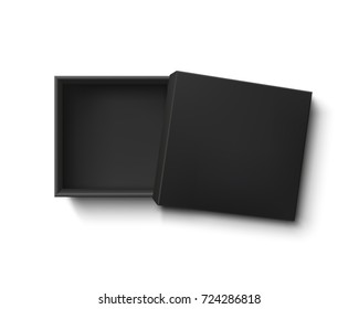Opened black empty gift box isolated on white background. Top view. Template for your presentation design, banner, brochure or poster. Vector illustration.