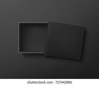 Opened black empty gift box on dark background. Top view. Template for your presentation design, banner, brochure or poster. Vector illustration.